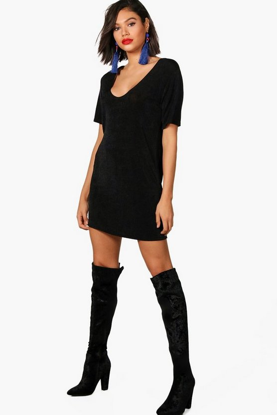 Aliza Plunge Front Textured Slinky T-Shirt Dress