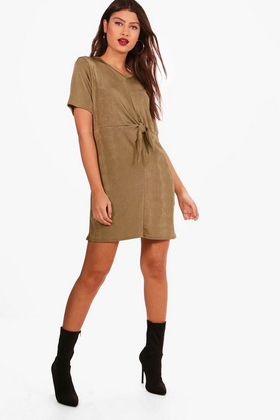 Laura Knot Front Textured Slinky T-Shirt Dress