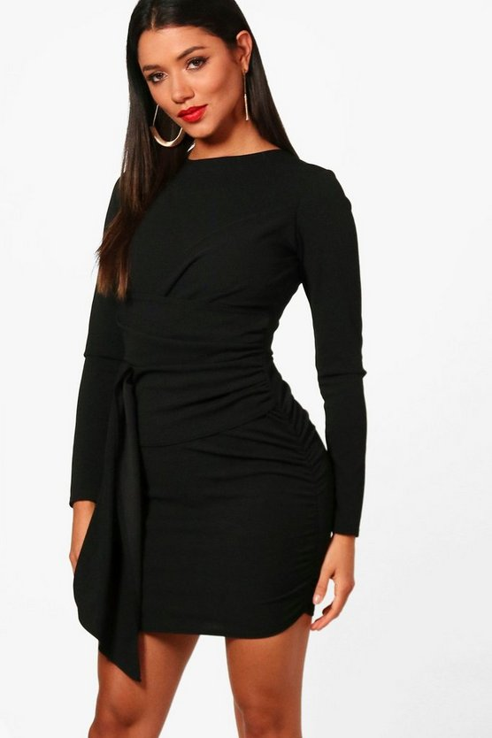 Draped Asymmetric Ruched Side Dress