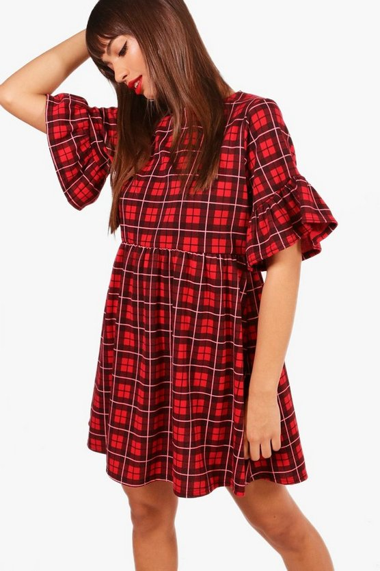 Red Check Ruffle Sleeve Smock Dress