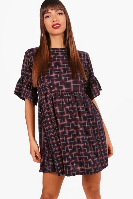 Tartan Check Ruffle Sleeve Smock Dress