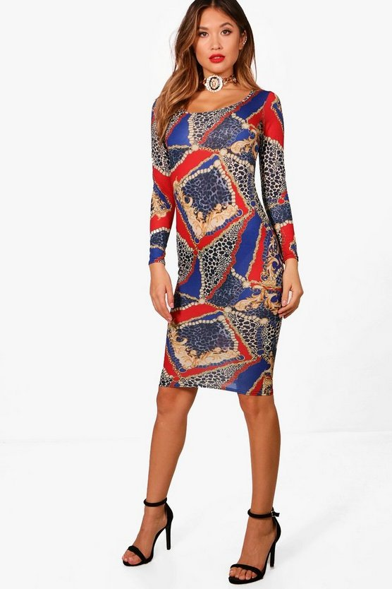 Womens Cobalt Chain Print Square Neck Bodycon Dress
