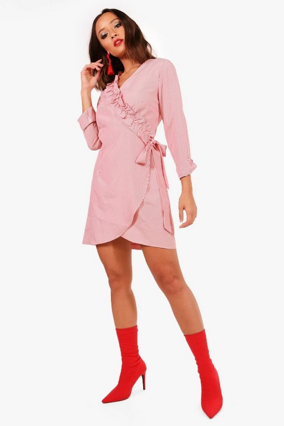 Ruffle Wrap Front Shirt Dress