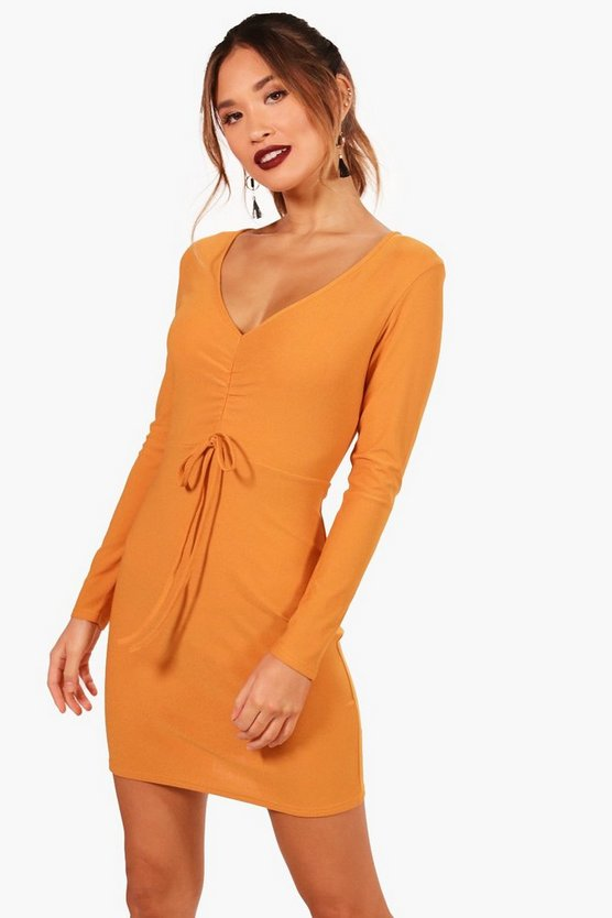 Sophie Ruched Long Sleeved Bodycon Dress