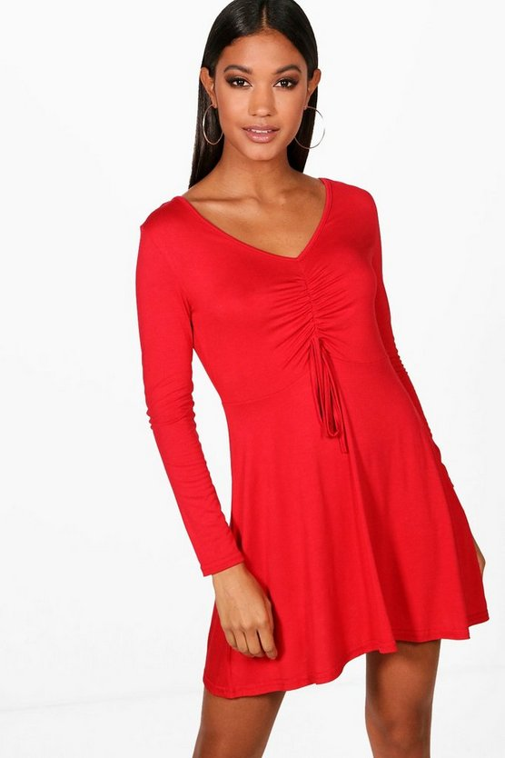 Ruched Front Long Sleeve Tea Dress