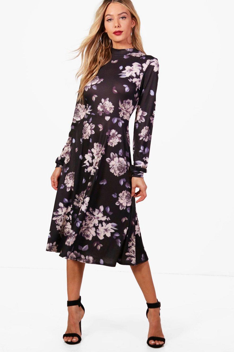 53db5a331ca8 Floral Midi Dress Boohoo - raveitsafe