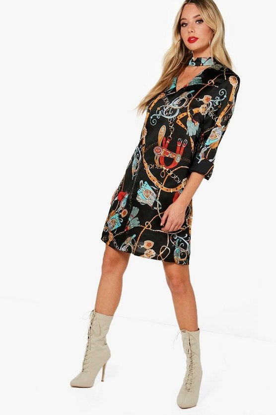 Heidi Chain Print Choker Swing Dress