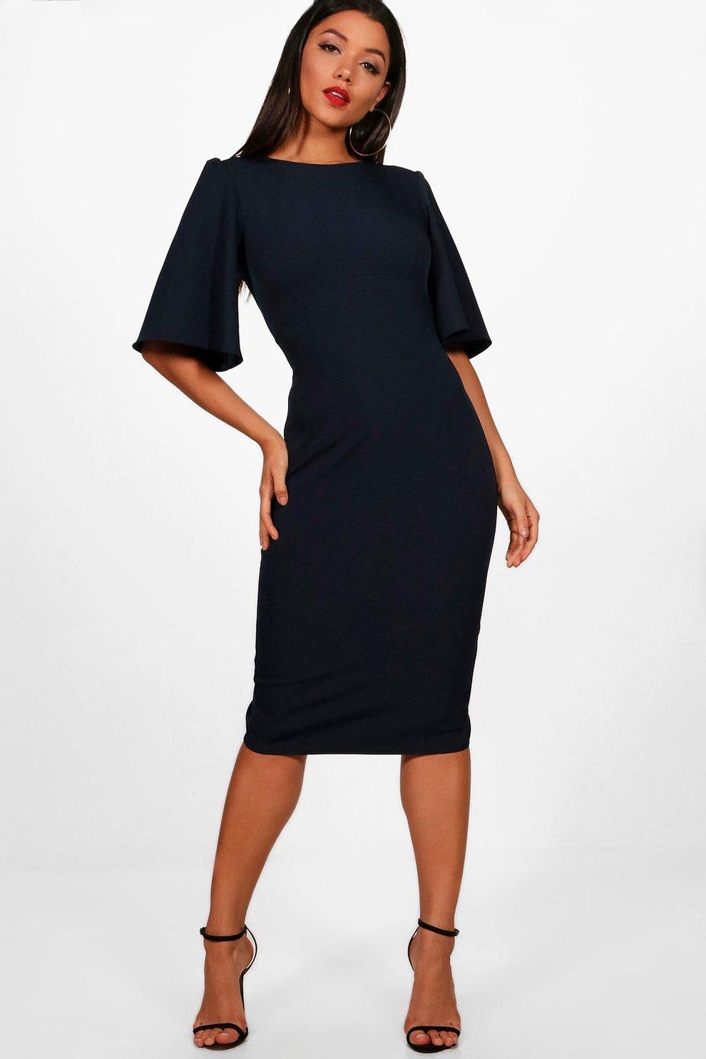 018e19365e83b Angel Sleeve Midi Dress   Boohoo