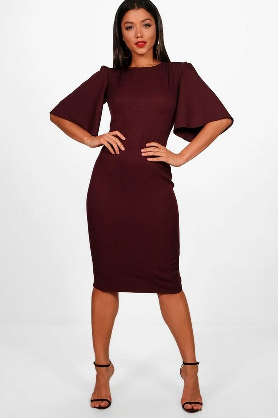 Angel Sleeve Midi Dress