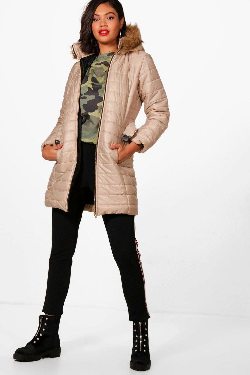 Faux Fur Hood Longline Padded Jacket Boohoo