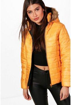 Womens Mustard Crop Faux Fur Hood Padded Jacket