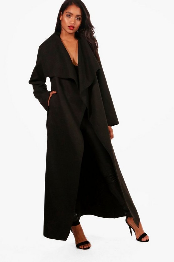 Womens Black Maxi Waterfall Belted Coat