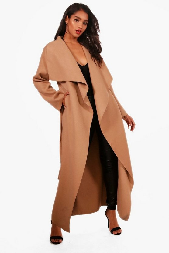 Womens Camel Maxi Waterfall Belted Coat