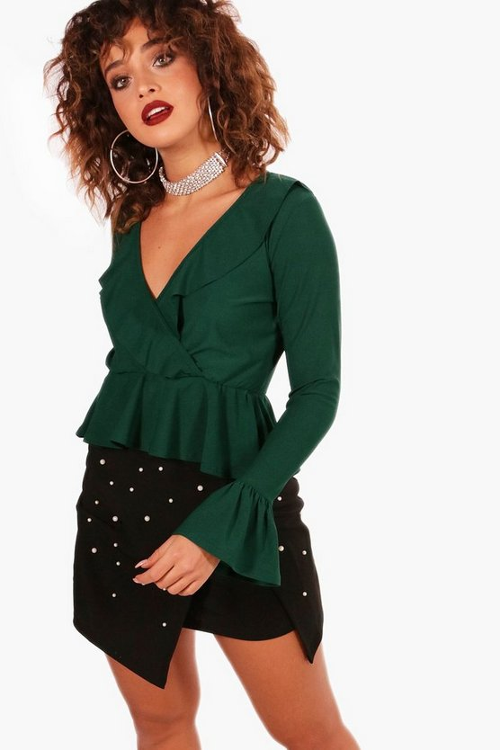 Wrap Front Ruffle Hem Long Sleeve Top