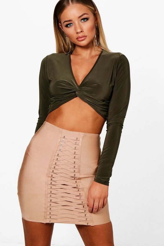Slinky Twist Knot Long Sleeve Plunge Crop