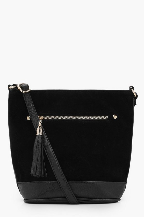 Suedette Tassel Bucket Cross Body