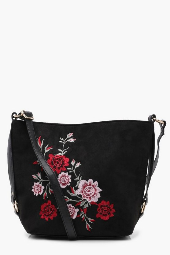 Womens Black Lucy Embroidered Bucket Cross Body