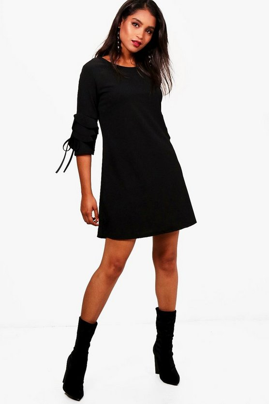 Frill Tie Sleeve Shift Dress