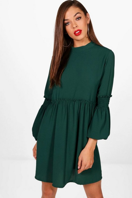 Balloon Sleeve Skater Dress