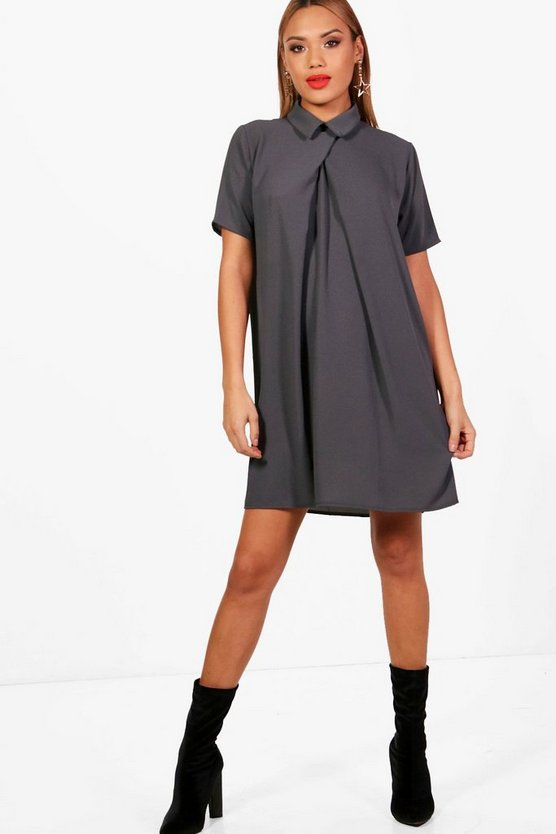 Short Sleeve Chiffon Shift Dress