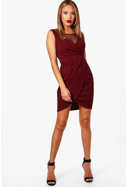 Womens Wine Lace Sleeveless Dress