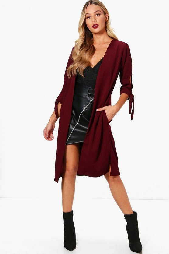 Womens Tie Sleeve Duster