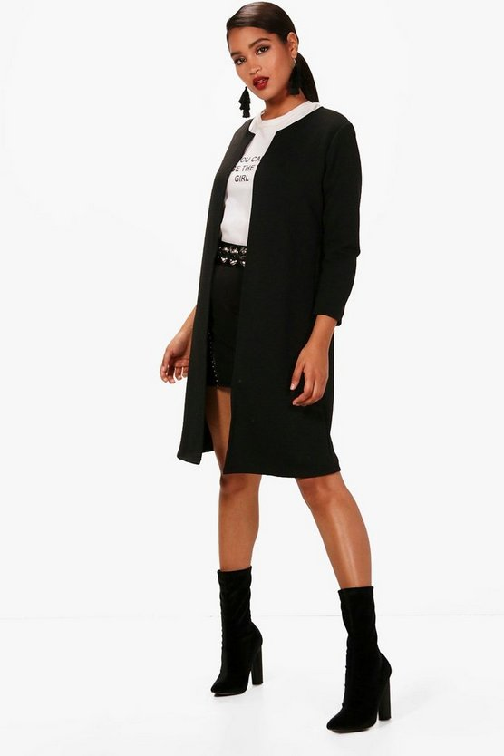 Womens Black Harper Rib Edge To Edge Longline Duster