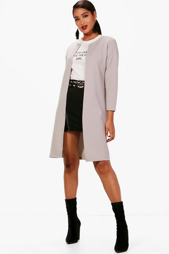 Womens Grey Harper Rib Edge To Edge Longline Duster