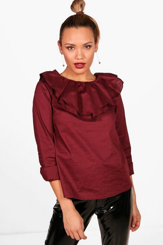 Frill Neck Cotton Shirt