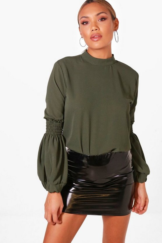 Sheared Balloon Sleeve Bodysuit