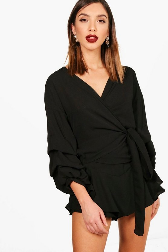 Ruffle Sleeve Wrap Over Shirt