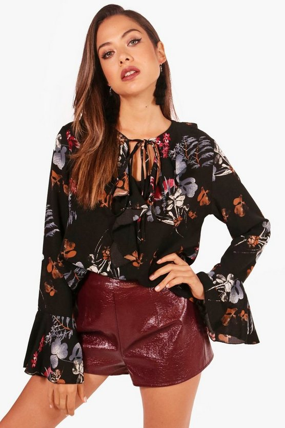 Womens Black Printed Ruffle Tie Neck Shirt