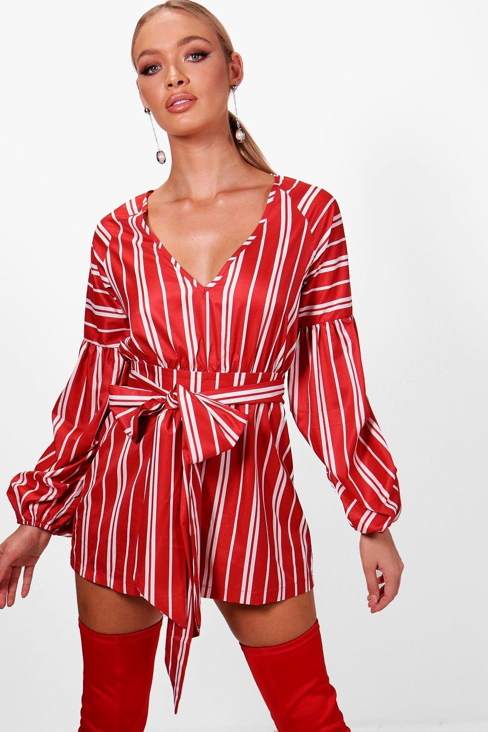 20a3389890f1 Striped Plunge Tie Belt Playsuit. Hover to zoom