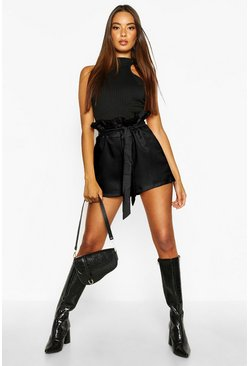 Womens Black Paper Bag Waist Tie Belted Shorts