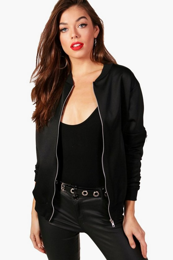 Womens Black Scuba Bomber Jacket