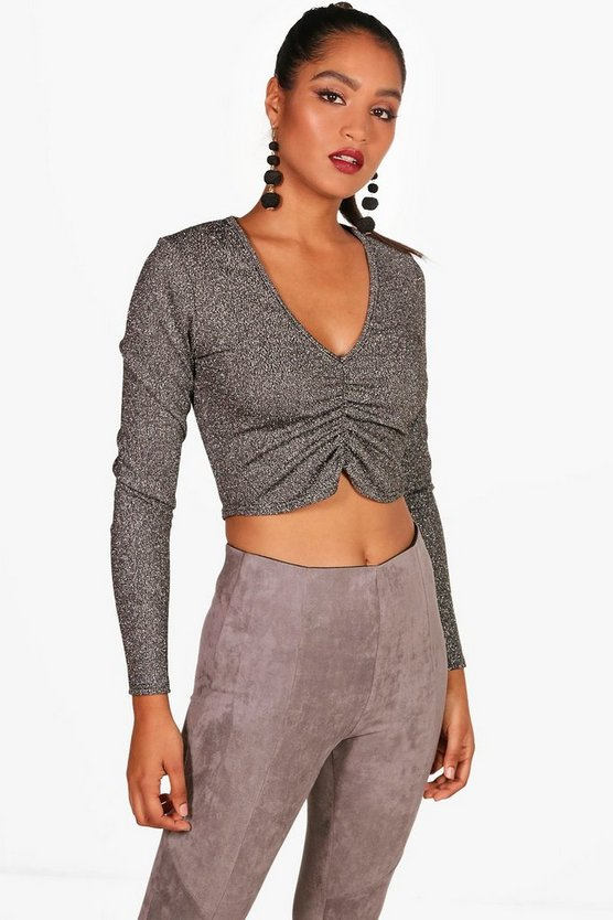 Natasha Metallic Knitted Rouched Crop