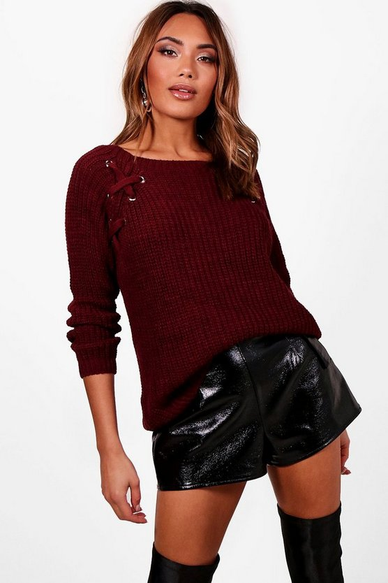 Lace Up Eyelet Fisherman Jumper