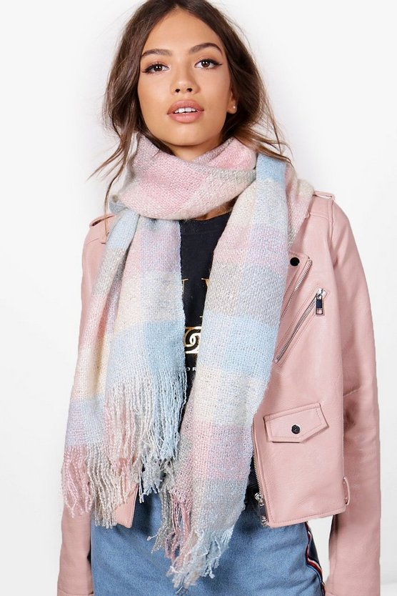 Mia Pastel Check Knitted Scarf