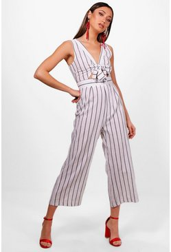 Womens White Stripe Tie Front Culotte Jumpsuit