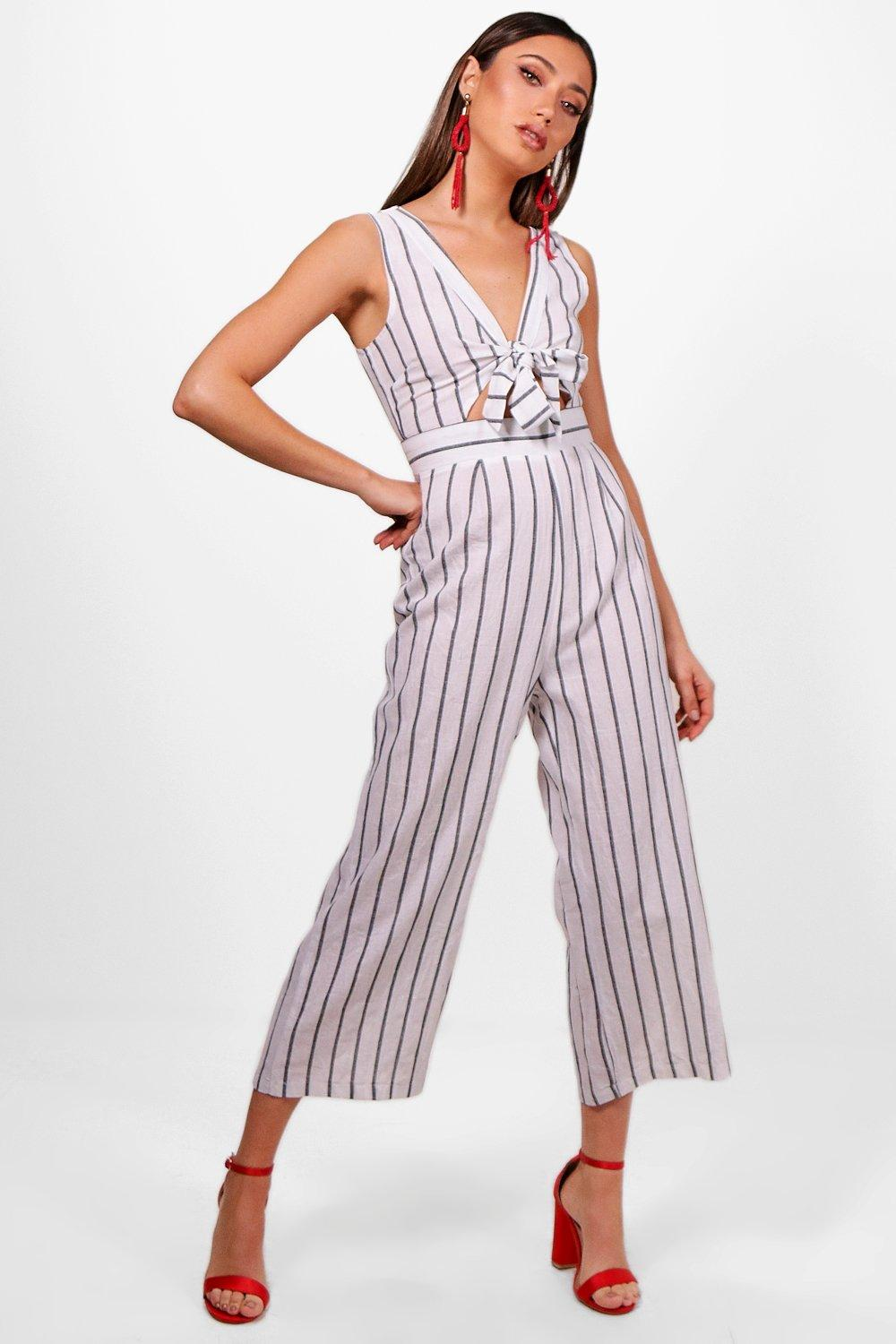 8db985f600fe Stripe Tie Front Culotte Jumpsuit. Hover to zoom