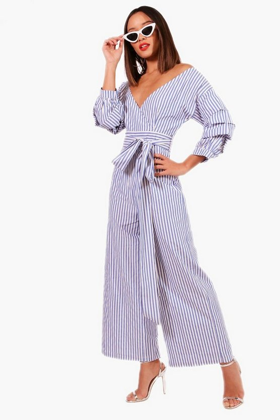 Womens Blue Volume Sleeve Tie Belt Jumpsuit