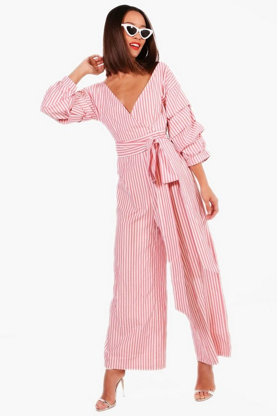 Womens Rose Volume Sleeve Tie Belt Jumpsuit