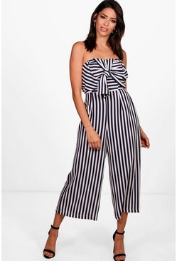 Womens Navy Twist Bow Front Culotte Jumpsuit