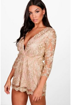 Womens Gold All Over Embroidered Wrap Playsuit