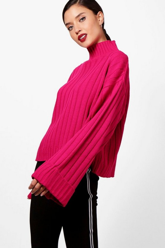 Maxi Wide Sleeve Wide Rib Jumper