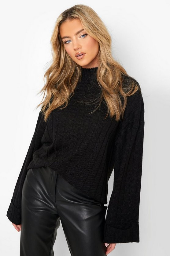 Womens Black Maxi Wide Sleeve Wide Rib Jumper