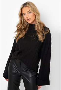 Maxi Wide Sleeve Wide Rib Jumper, Black, Donna