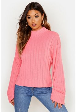 Womens Coral Maxi Wide Sleeve Wide Rib Jumper