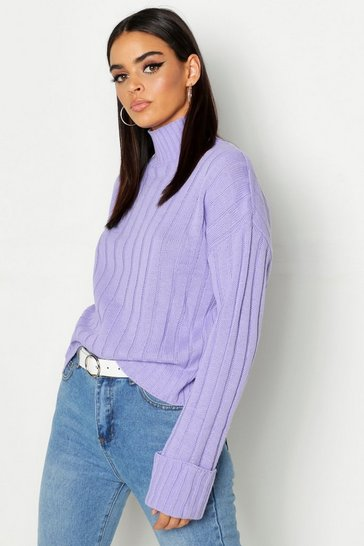 Womens Lilac Maxi Wide Sleeve Wide Rib Jumper