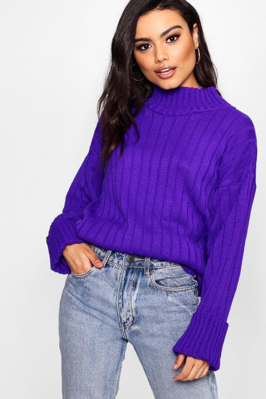 Sleeve Jumper purple Rib Maxi Wide Wide Tqxw6SS4Y5